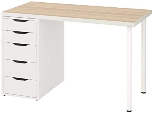 """Ikea Linnmon Alex Table 47"""" White Stained Oak Effect 992.143.04"""